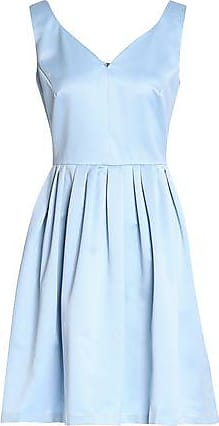 Raoul Woman Pleated Satin Mini Dress Sky Blue Size 36 Raoul