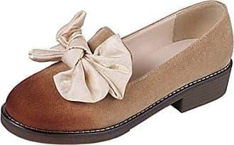 RAZAMAZA Damen Classic Bow Low Chunky Heel Pumps Schuhe Slip ons
