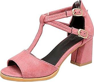 TAOFFEN Damen Sandaletten Blockabsatz Sandalen Schuhe Sommer  37 EUPink
