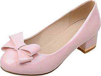 TAOFFEN Damen Mode Blockabsatz ohne Verschluss Pumps mit Bogen Pink Size 33 Asian