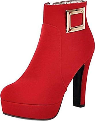 RAZAMAZA Damen Mode High Heel Herbst Stiefel Side Zipper Plateau Schuhe Red Size 34 Asian