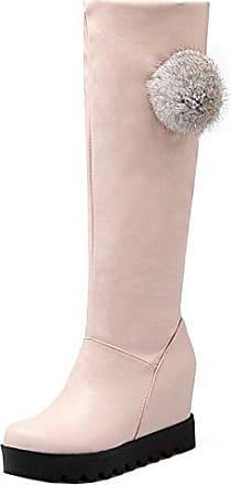 RAZAMAZA Damen Mode Keilabsatz High Heel Schuhe Schuhe Lange Stiefel mit Pompon White Size 34 Asian