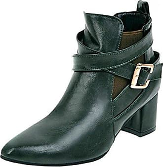 TAOFFEN Damen Mode Party Ankle Boots Kurze Stiefel Mit Blockabsatz Black Size 32 Asian