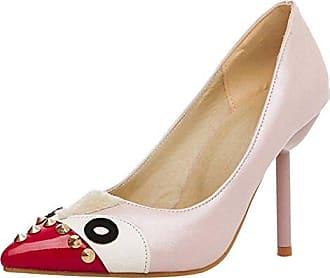RAZAMAZA Damen Pumps Stiletto Stiefel High Heels Kurzschaft Stiefelette  44 EUPink