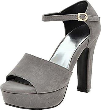 SHOWHOW Damen Peep Toe Blockabsatz Sandale Mit Schnalle Schwarz 35 EU