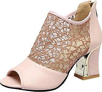 TAOFFEN Damen Herbst Ankle Boots Kurze Stiefel Mit Blockabsatz Apricot Size 34 Asian