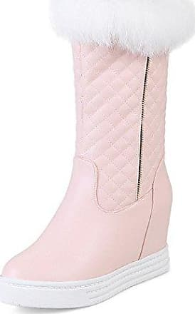 RAZAMAZA Damen Winter Warm Gefuttert Chunky High Heel Plateau Mid Calf Boots (34 EU,Grey)