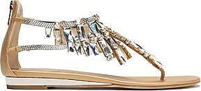 Rene Caovilla Woman Embellished Leather And Lace Sneakers Gold Size 36 Rene Caovilla