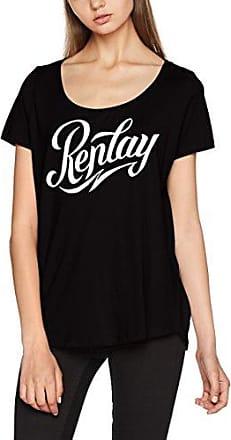 Replay W3983.000.20994, Camiseta para Mujer, Negro (Blackboard 99), Medium
