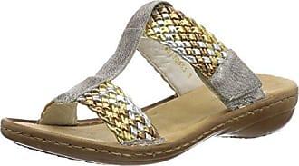 608p5, Ciabatte Donna, Multicolore (Gold-Silber/Altsilber), 39 EU Rieker