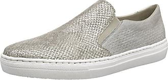 Rieker 53777 Women Loafers, Damen Slipper, Grau (steel/staub/grey/hay/champignon/42), 38 EU