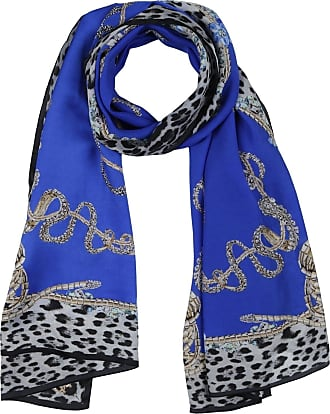 Roberto Cavalli Woman Printed Silk-chiffon Scarf Royal Blue Size Roberto Cavalli