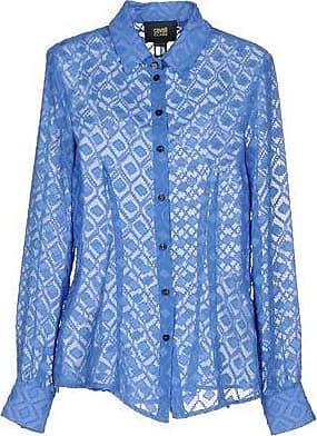 Roberto Cavalli Woman Pintucked Silk Shirt Sky Blue Size 46 Roberto Cavalli