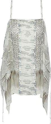 Roberto Cavalli Woman Draped Snake-print Silk Crepe De Chine Top Light Gray Size 42 Roberto Cavalli