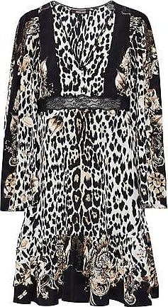 Roberto Cavalli Woman Lace-up Leopard-print Silk-crepe Top Animal Print Size 42 Roberto Cavalli