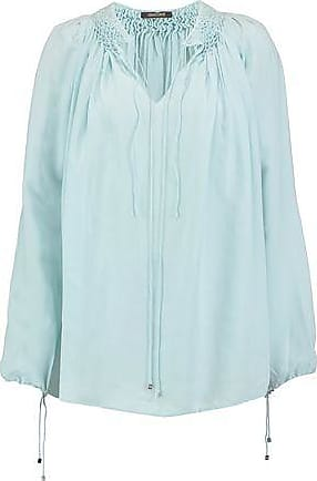Roberto Cavalli Woman Pintucked Silk Shirt Sky Blue Size 48 Roberto Cavalli
