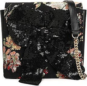 Rochas Woman Sequined Bow-embellished Leather And Jacquard Shoulder Bag Black Size Rochas