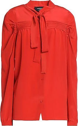 Rochas Woman Printed Brushed Silk And Wool-blend Top Red Size 40 Rochas