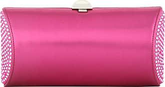 Bright pink crystal-embellished rigid clutch Rodo