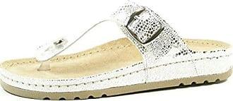 Rohde Riesa 5807-89 Damen Pantoletten Zehentrenner Weite G , Schuhgröße:39;Farbe:Silber