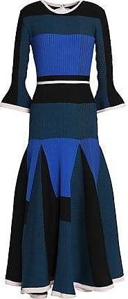 Roksanda Woman Metallic Cloqué And Satin-paneled Crepe Midi Dress Black Size 8 Roksanda Ilincic