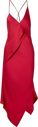 Jimboy Asymmetric Hammered Silk-satin Midi Dress - Claret Roland Mouret