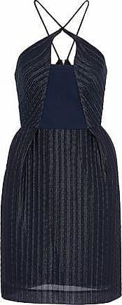 Roland Mouret Woman Pleated Gauze Halterneck Mini Dress Navy Size 14 Roland Mouret