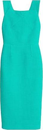 Roland Mouret Woman Pleated Cotton-blend Piqué Dress Jade Size 8 Roland Mouret
