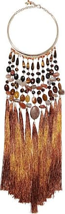 Rosantica Rum Tasseled Gold-tone Beaded Necklace - Brown