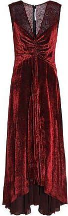 Rosetta Getty Woman Knotted Flocked Chiffon Maxi Dress Claret Size 4 Rosetta Getty