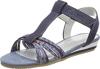 s.Oliver Mädchen 48206 T-Spangen Sandalen, Blau (Denim Star), 33 EU