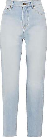 Distressed High-rise Straight-leg Jeans - Light denim Saint Laurent