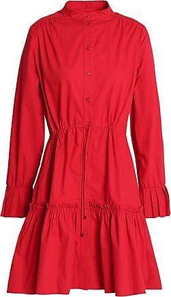 Saloni Woman Gathered Pleated Stretch-cotton Mini Dress Crimson Size 10 Saloni