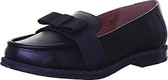 SALT AND PEPPER Damen Slip auf Schleife Fuß Smart Echt Leder Western Low Ferse Büro Schuhe, Schwarz - Schwarz - Größe: 38