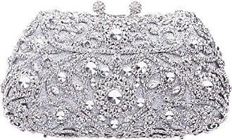 Damen Clutch Abendtasche Handtasche Geldbörse Glitzertasche Strass Kristall Traube Tasche mit wechselbare Trageketten von Santimon Silber Santimon