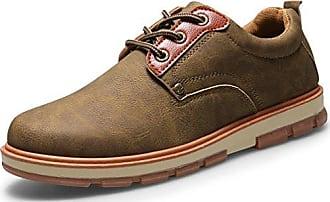 Schnürhalbschuhe herren Leder Schuhe Wildleder Klassiker Oxfords von Santimon Khaki 42