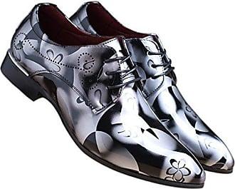 Schnürhalbschuh Lackleder Schuhe Herren Derby Klassischer Rahmengenähter mit Oxford Schnürung Blau 39 EU