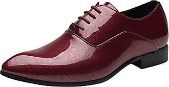 Schnürhalbschuh Lackleder Schuhe Herren Derby Klassischer Rahmengenähter mit Oxford Schnürung Rote 42 EU