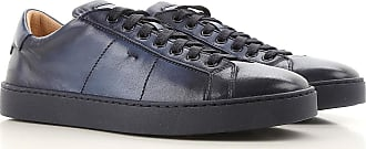 Sneaker für Herren, Tennisschuh, Turnschuh, Tintenblau, Leder, 2017, 38.5 39 40 41.5 42 42.5 43 44 Santoni
