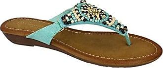 Savannah Damen Flip Flop mit Perlen und Keilabsatz (39 EU) (Blau)