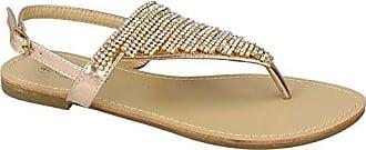 Savannah Damen Zehensteg-Sandale mit Rosen-Applikation (39 EU) (Schwarz)