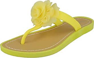 Savannah Damen Zehensteg-Sandale mit Rosen-Applikation (40 EU) (Zitrone)