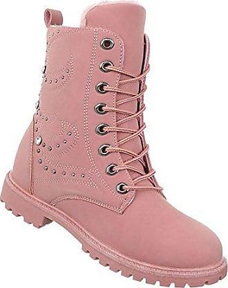 SHOWHOW Damen Warm Winterschuh Flach Kurzschaft Stiefel Pink 38 EU