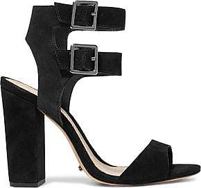 Schutz Woman Buckled Nubuck Sandals Black Size 7.5 Schutz