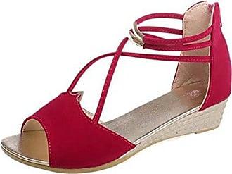 0d834b29b980 Damen Peep Toe Cross Riemchen Elastisch Flach Sandalen Schwarz 34 EU  SHOWHOW Liefern Billig Zu Kaufen