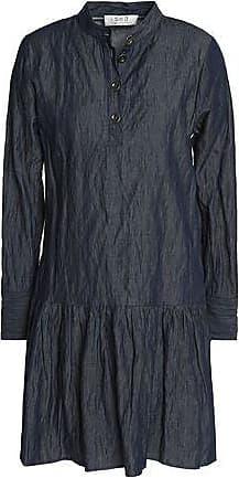 Sea Woman Pleated Cotton-blend Chambray Mini Shirt Dress Dark Denim Size 6 Sea New York