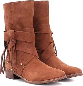 Chloé See By Chloé Woman Suede And Croc-effect Leather Lace-up Boots Size 41