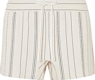 Striped Cotton-blend Canvas Shorts - White See By Chloé