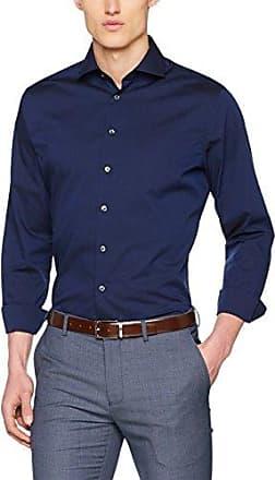 Modern Bügelfrei, Camisa de Oficina para Hombre, Azul (Dunkelblau 19), 43 Seidensticker