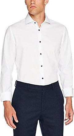 SHARK - Chemise business - coupe droite - Col chemise italien - Manches longues - Homme - Blanc (01 Weiß) - taille col: 40 (Taille fabricant: 40 CM)Seidensticker